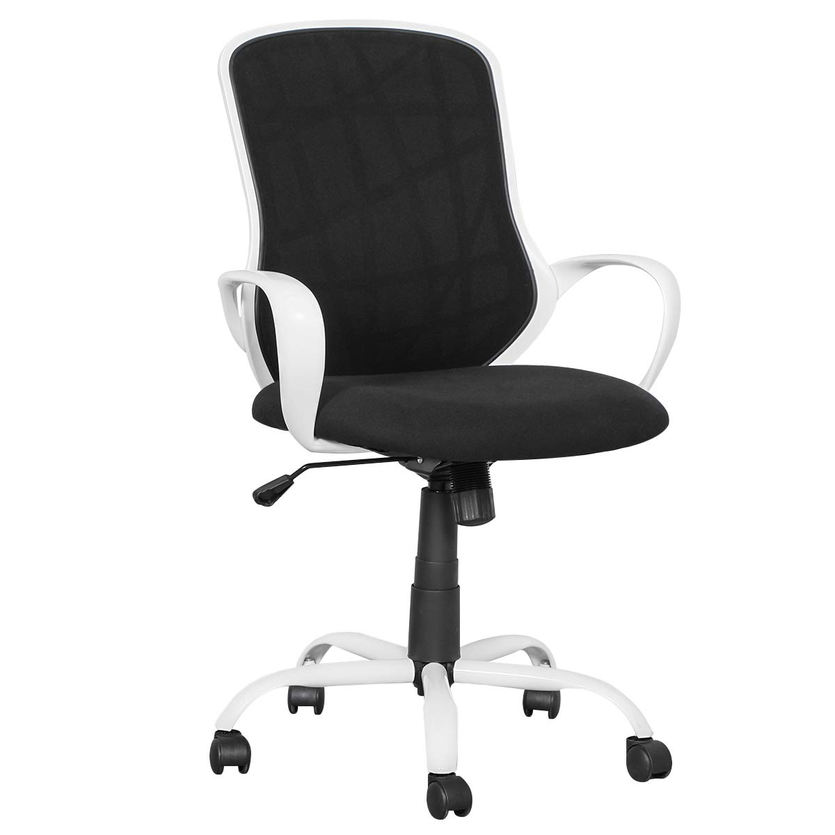 Coavas Mid Back Office-Chair Home Leisure Adjustable Swivel Gaming Desk Chair Ergonomic Task Computer Chair with Armrests,Classic White Black