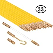 #LightningDeal Premium 33-Feet Fiberglass Fish Tape Cable Rods, Electrical Wire Running Pull/Push Kit | Fishing Feeder Pole Sticks Snake Tool for Coaxial Wall Wiring - Ram-Pro