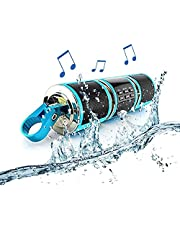 Powersport Speakers, MASO Waterproof 12V HiFi Motorcycle Bluetooth Speaker with Fm Radio Stereo Sound System Remote Alarm MP3 Player - Blue