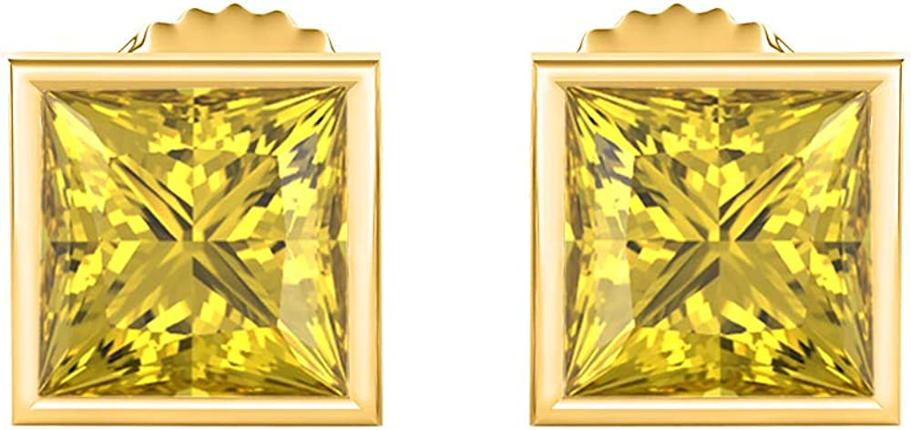 Solitaire Stud Earrings 14K Yellow Gold Over .925 Sterling Silver 6MM Bezal Set Princess Cut Created Gemstones