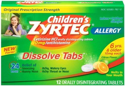 Allergie de Zyrtec enfants Dissoudre les comprimés, Citrus, 12 comte