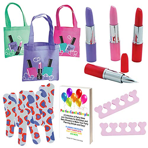 Girls Spa Pedicure Party Favors (12 Tote Bags, 12 Lipstick Tube Shaped Ink Pens, 12 Pairs of Foam Toe Separators, 12 Emery Boards) (Spa Bag Favor)
