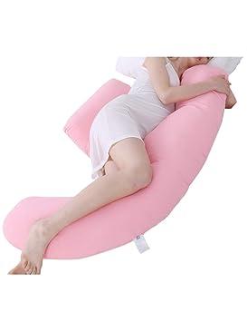 2f11301ab besbomig Suave Esponjoso Almohada de Embarazo y Maternidad en Forma de U  Almohada de Cuerpo Completo - Almohada de Lactancia con Funda extraíble y  Lavable  ...