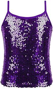 JEATHA Girls Sparkle Sequin Dance Tops Sleeveless Round Neck Shimmer Camisole Cheer Jazz Performance Vest Tank