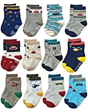 RATIVE Non Skid Anti Slip Cotton Crew Socks With Grips For Baby Infant Toddlers Boys