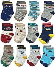 RATIVE Anti Skid Non Slip Slipper Cotton Crew Dress Socks With Grips For Baby Walker Toddlers Kids Boys 2T 3T