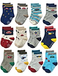 RB-71112 Non Skid Anti Slip Crew Socks With Grips For Baby Toddlers Boys