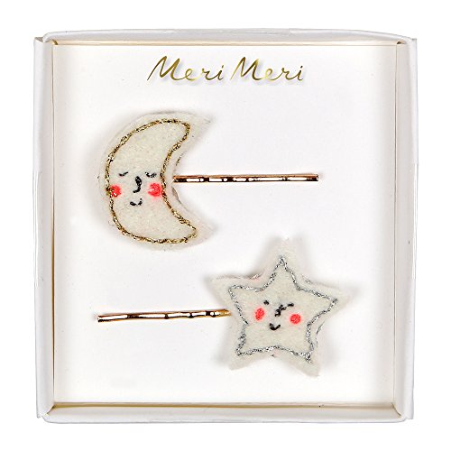 Meri Meri, Holiday Hair Clips, Hair Slides - Happy Moon & Star -