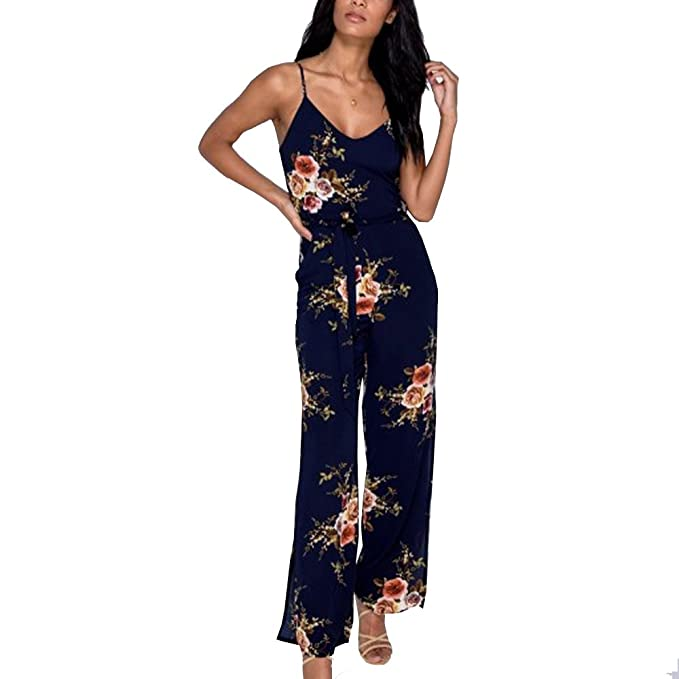 6d0ae09db5cc Kinikiss Women s Floral Print Jumpsuit Ruffle Off Shoulder Halter High  Waist Casual Playsuit Romper (XL