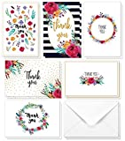 Juvale Thank You Cards - 48-Count Thank You Notes, Bulk Thank You Cards Set - Blank on the Inside, 6 Floral Designs - Includes Thank You Cards and Envelopes, 4 x 6 Inches