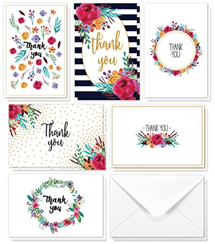 Juvale Thank You Cards - 48-Count Thank You Notes, Bulk Thank You Cards Set - Blank on the Inside, 6 Floral Designs - Includes Thank You Cards and Envelopes, 4 x 6 Inches by Juvale