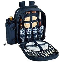 Picnic at Ascot Trellis Blue Picnic Backpack for 4