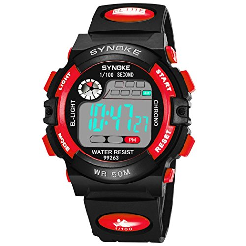 SYNOKE Waterproof Men's LED Digital Quartz Sports Watch (Red) - 4