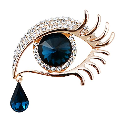 Unique Women's Collar Metal Lapel Pins Brooches Dark Blue Crystal Eye Of The Devil Valentine'S Day Gift