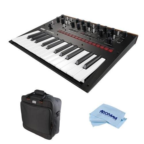 Korg Monologue 25-Key Monophonic Analog Synthesizer with 80 Presets, Black - Bundle Gator Cases Updated Padded Nylon Mixer/Equipment Bag, Microfiber Cloth