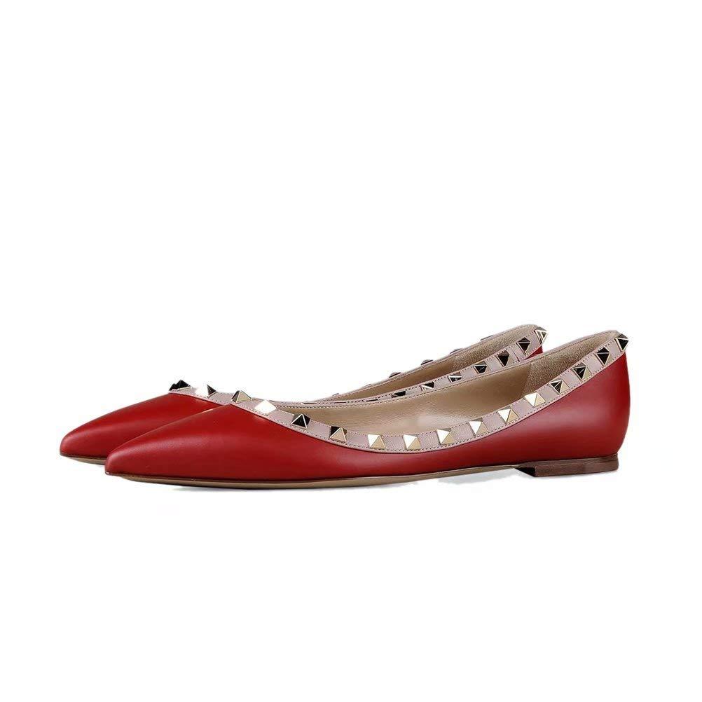 Chris-T Damen Studs Flache Riemchen Schnalle Schuhe Schuhe Schuhe Spitze Zehe Slingback Kleid Pumps Flats ROT Matte 4896c4