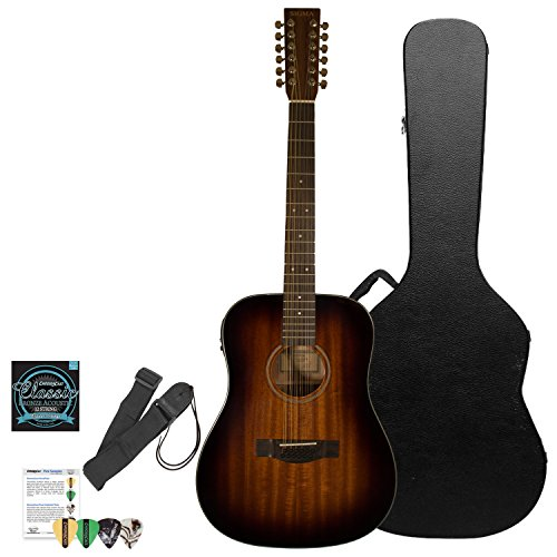 Sigma Guitars Mahogany Dreadnought 12-String Acoustic-Electric Guitar with ChromaCast Hard Case & Accessories, Shadowburst