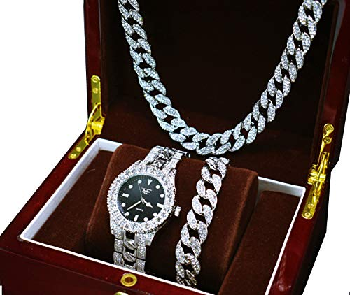 (14k White Gold Plated Iced Out Techno Pave Men Watch, Cuban Chain & Bracelet Set (All of Them))