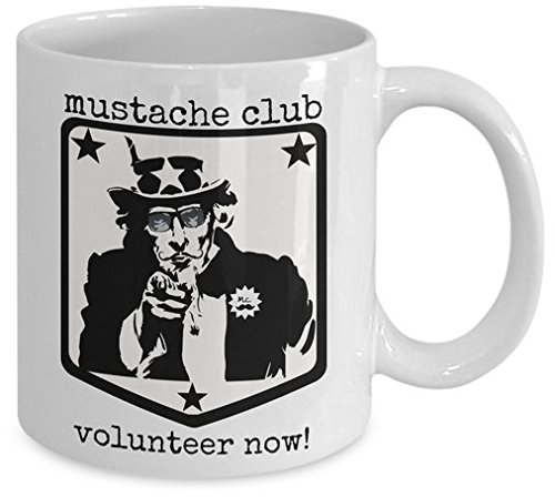 Mustache Club Mug - Funny movember moustache coffee cup - retro awesome novelty gift