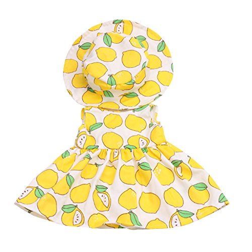 Homyl Beautiful Patterns Skirt & Round Hat Summer Clothes for 18inch American Girl Lemon