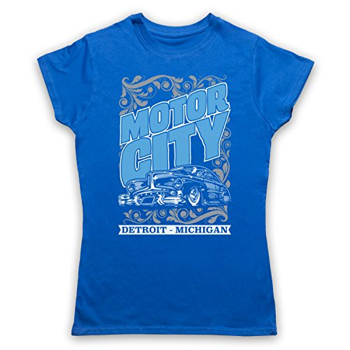 Motor City Detroit Michigan Camiseta para Mujer Azul Real