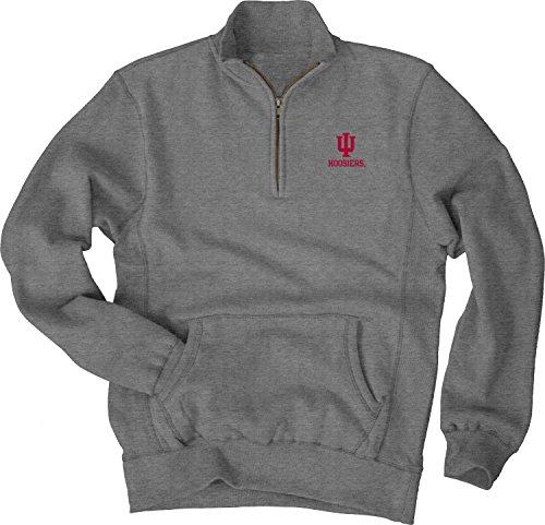 Indiana Hoosiers Metal (NCAA Indiana Hoosiers Men's Sanded Fleece Zip Cadet Tee, Gunmetal, XX-Large)