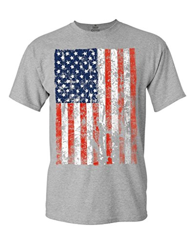 Silver Pony Shirt - United States of America Flag Vintage T-Shirt Flag Shirts #13500 X-Large Sports Grey