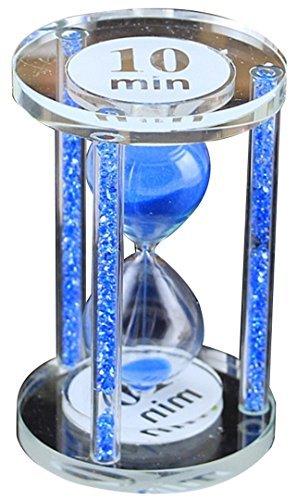 HorBous Creative Home Office Kitchen Student Book Shelf Crystal Round Hourglass Timer (Color Crystal Filled Pillars) Gift Set 5 Min/ 10 Min/ 15 Min (Random Sand Color) - Shelf Quarter Round 5 Bookcase