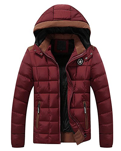 Hood Qulited Red Thicken Fleece Coat Men's Lined Winter Removable LaoZan Jacket With BqUwFnfnCZ