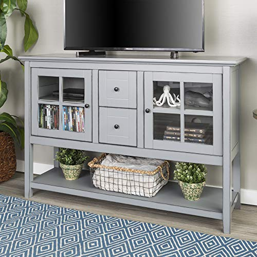 WE Furniture Rustic Farmhouse Wood Buffet Storage Cabinet Living Room, Antique Grey (Country Tv Stand French)