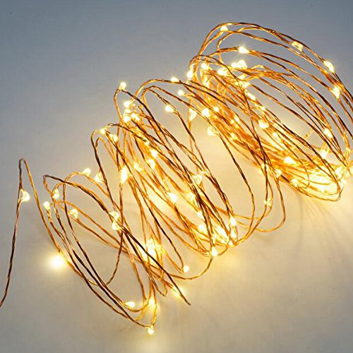 2 Pack 36ft Copper Wire Micro Lights Total 200 LED Waterproof Starry String Lights for Home Garden Decoration BBQ Wedding Festival Party Valentine's Day (Warm White) from Jingle light