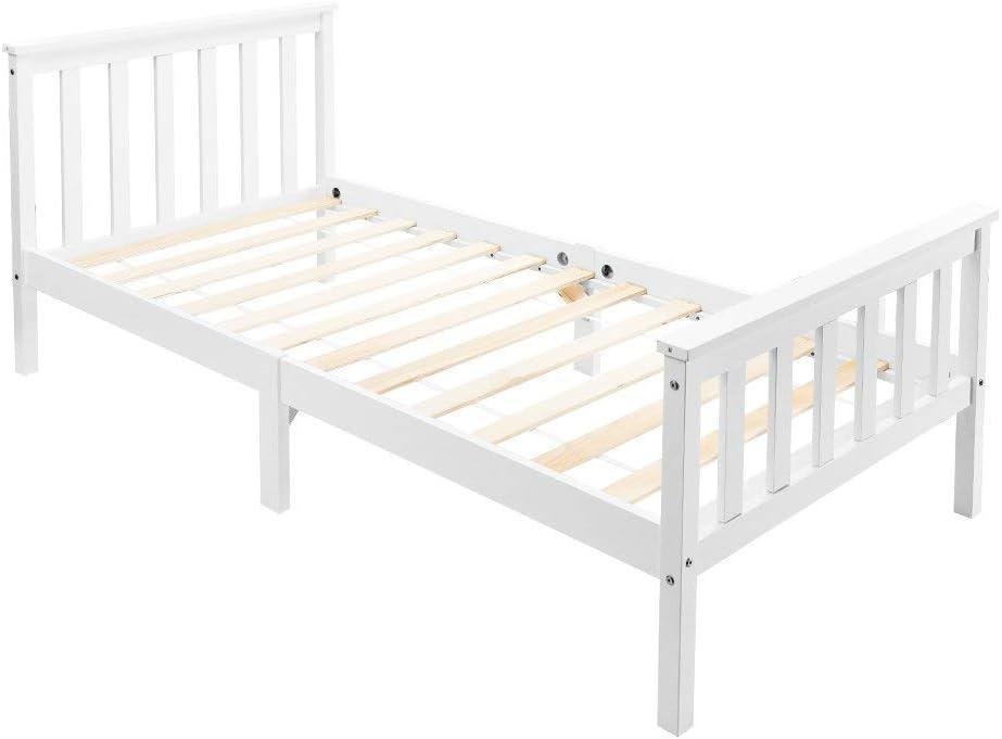 Estructura de cama de madera de cama individual con somier de láminas de madera con cabecero, 90 x 190 cm, cama infantil juvenil de madera maciza de pino macizo, color blanco