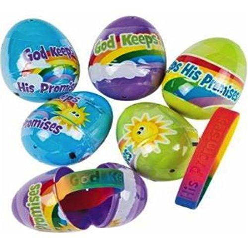 God Keeps His Promises Bracelet Filled Plastic Easter Eggs - 12 per Set