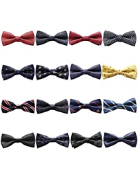 16 Packs Elegant Adjustable Pre-Tied Bow Ties for Men Boys Mixed Color Assorted Ties