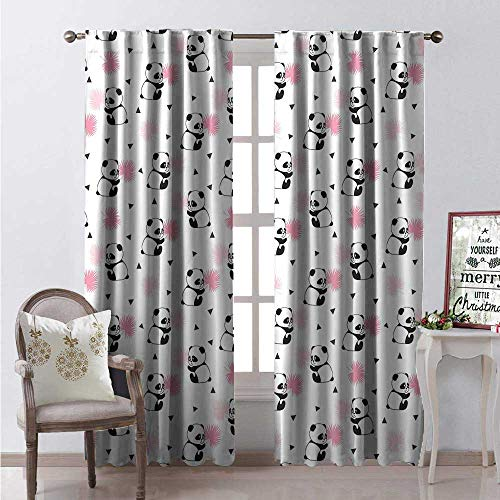 Hengshu Panda Room Darkening Wide Curtains Childrens Cartoon Style Bear Drawings Pink Foliage Leaves Chinese Decor Curtains by W84 x L96 Pale Pink Rose Black