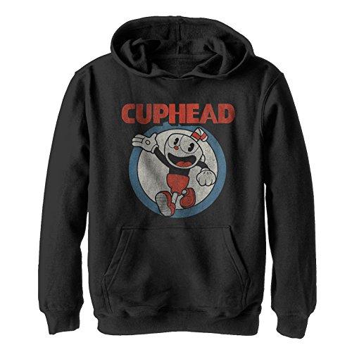 Cuphead Boys' Vintage Circle Black Hoodie