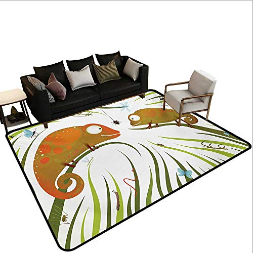 10' Power Worm - Home Custom Floor mat,Hungry Animals Grass Looking at Spider Insect World Illustration Worm Ladybug 6'6