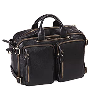 Leathario PU Leather Multifunction Messenger Bag Backpack mens shoulder bag