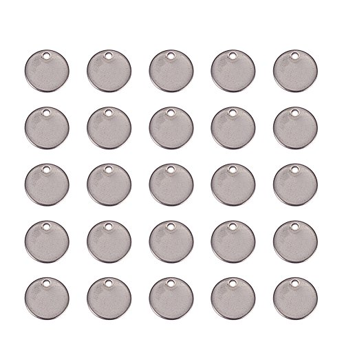 PandaHall Elite 150pcs 304 Stainless Steel Flat Round Shape Blank Stamping Tag Pendants Sets for Bracelet Earring Pendant Charms Diameter in 8mm by PH PandaHall