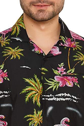 Uomo Cubana Club Hawaiana Da Floreale Maniche Corte A Classica Nero Slim Camicia Fit Casual qtqdwZnC