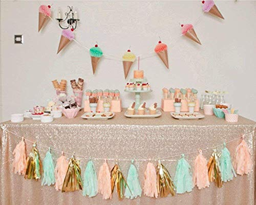 SoarDream Sequin Tablecloth Party Champagne Blush 60inx102in Shiny Table Overlay Shimmer Wedding Table Covers Elegant for Wedding Birthday Home Decorations]()