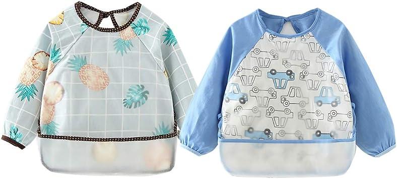 Happy Cherry Baby Waterproof Sleeved Bibs Stain and Odor Resistant Eating Smocks 0-1T