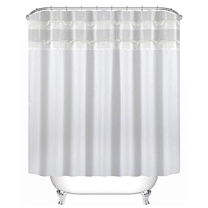 Uphome Bathroom Shower Curtain Heavy Duty Luxury White Tassel Pachwork Ruffle Fabric Bath Stall