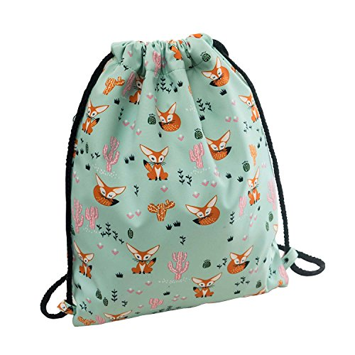- Cute Fox Drawstring Backpack Small Hiking Bag Gym Backpack Lightweight Backpack Square Polyester Bag by VOLINER Green