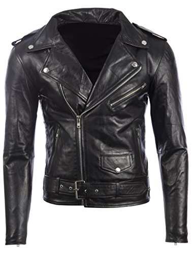 Men's Black Belted Biker Jacket in Real Cow Hide Leather Super-Soft Sheepskin Leather 46S