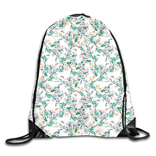 (Unisex Drawstring Bag Gym Bags Storage Backpack,Pink Cherry Blossoms Pattern With Bumble Bees Japanese Spring Themed Chic Print)