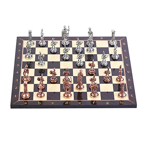 (CHESSLANDTR Antique Copper Roman Figures Metal Chess Set for Adult and Kids, Handmade Cool Pieces and Walnut Patterned Wood Chessboard King 2.8