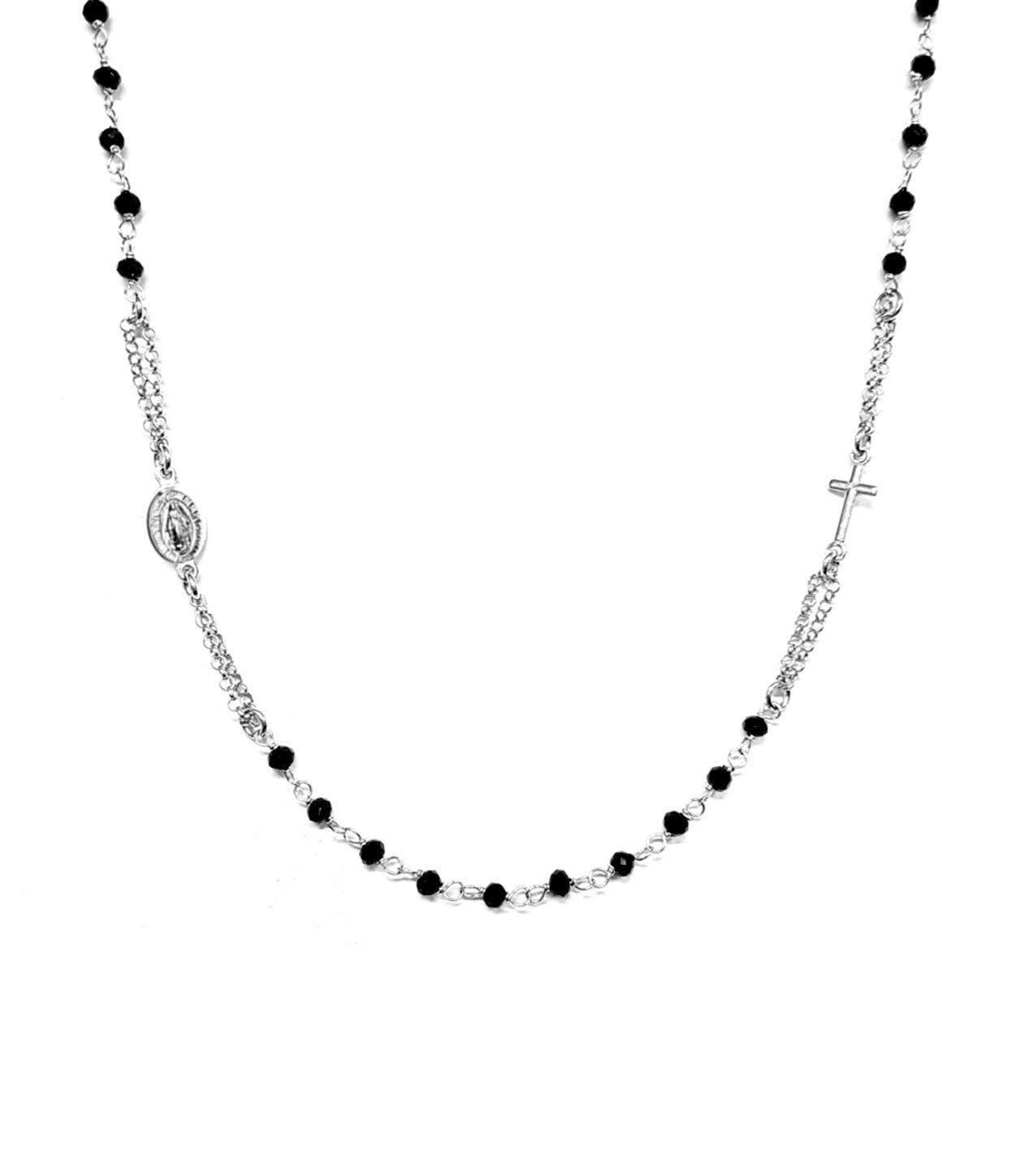 Collar Rosario en plata 925 con cuentas negras - Cruz y Medalla de la Virgen Maria - Linea Italia joyas Made in Italy
