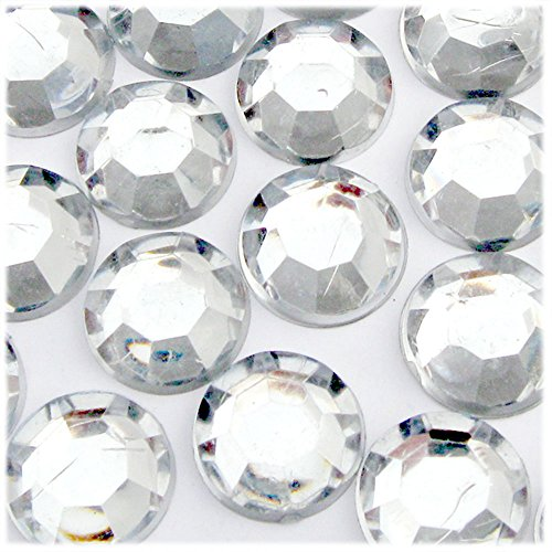 The Crafts Outlet 72-Piece Loose Flatback Acrylic Round Rhinestones, 20mm, Crystal Clear ()
