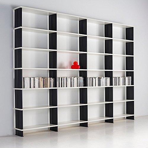 Bücherregale NIKKA Italian Design Modular weisse Regalsystem Seiten Schwarz cm. 360 x 258 h x 30